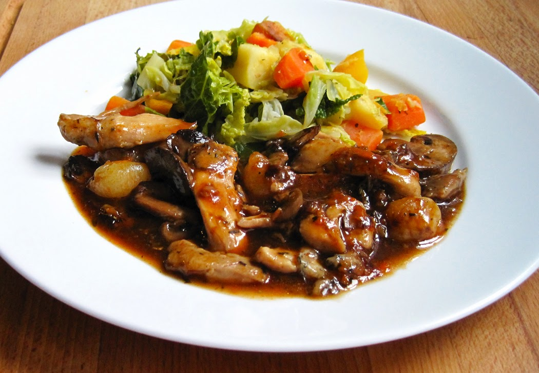 Chicken and Slow Roasted Mushrooms and Baby Onions in a Rich Red Wine Sauce