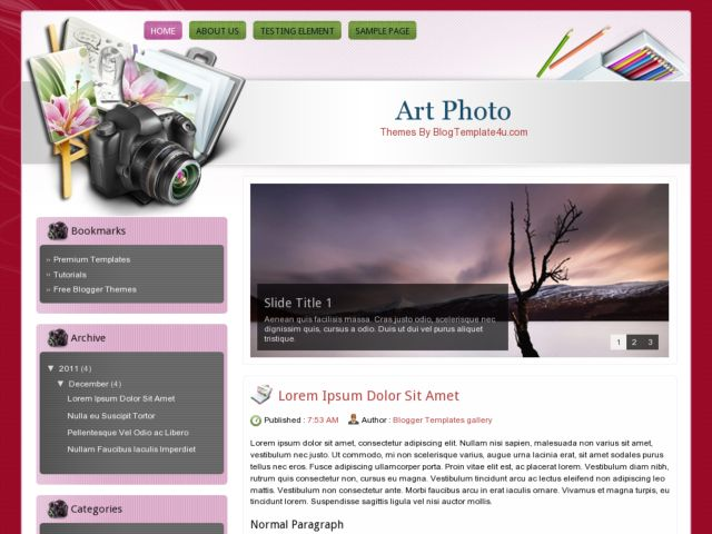 Art Photo Blogger Template