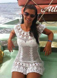 Saída de Praia Branca com Vídeoaula e Gráficos - Katia Ribeiro Crochê Moda  e Decoração aee18c57216