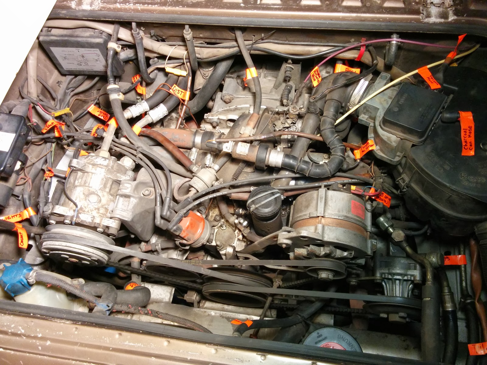"""I focused the labeling on the wiring harness and hoses that went through  the """"firewall"""" to the front of the van, so they are preserved when the  engine is ..."""