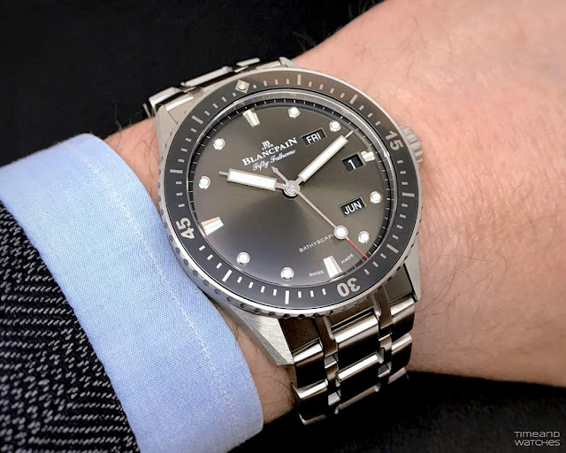 Blancpain Fifty Fathoms Bathyscaphe Quantième Annuel on the wrist