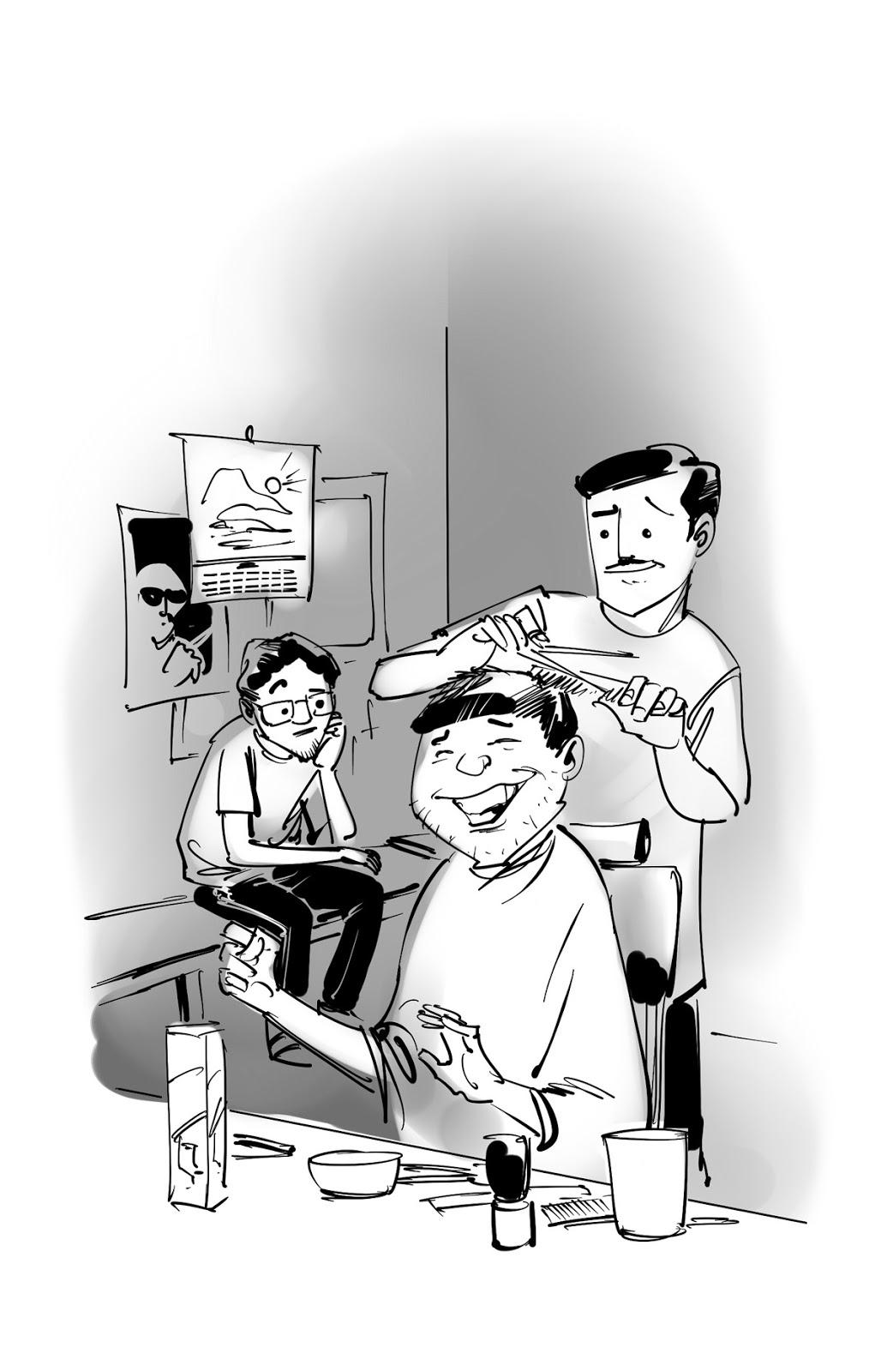 suman sarkar fau funny storybook cartoon illustration haircut saloon barber
