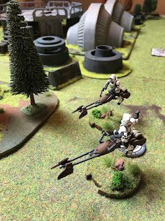 Imperial Speederbikes scout out the area ahead of the main force