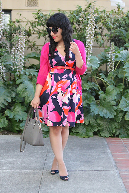 Vince Camuto Floral Dress  Le Tote Work Outfit
