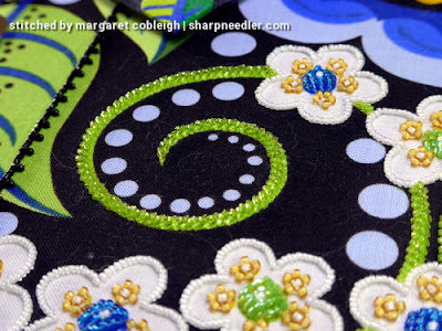 Preparing to bead embroider the blue discs around the tendrils. (Wild Child Japanese Bead Embroidery by Mary Alice Sinton)