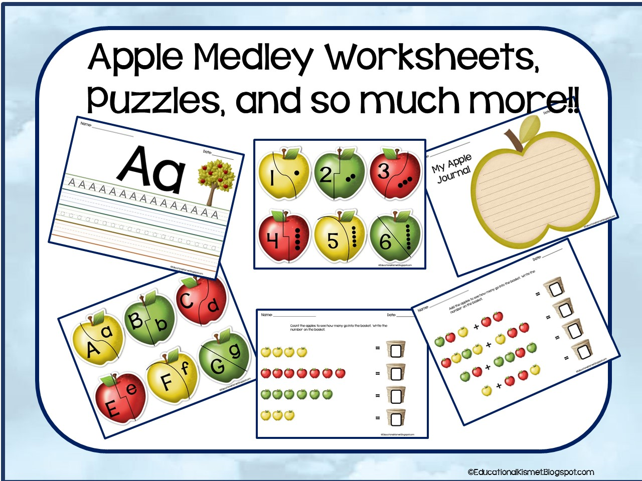 Educational Kismet Apple Medley Worksheets Puzzles And