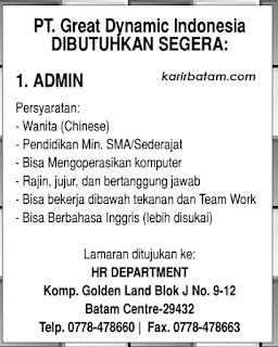 Lowongan Kerja PT. Great Dynamic Indonesia