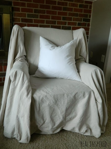Shabby Chic Dropcloth Chair Cover