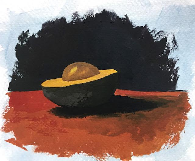 3-color gouache study of avocado on Fabriano Studio cold press watercolor paper