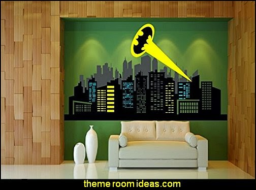 Batman Logo & City Skyline  Wall decal  batman bedrooms - batman bedroom decorating ideas -  batman furniture - batman murals - batman wall decals - batman bedding - batmobile bed - Batman room decor - batman pajamas -  batcave DC Comics Batman -  batman comics themed bedrooms -  Batman vs Superman Bedrooms - Superhero bedroom ideas -