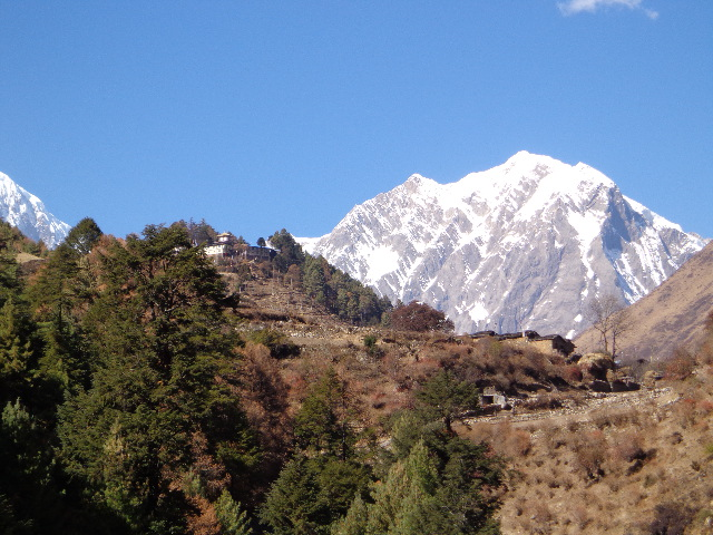 Lho village at the route of the Manaslu trekking Nepal.