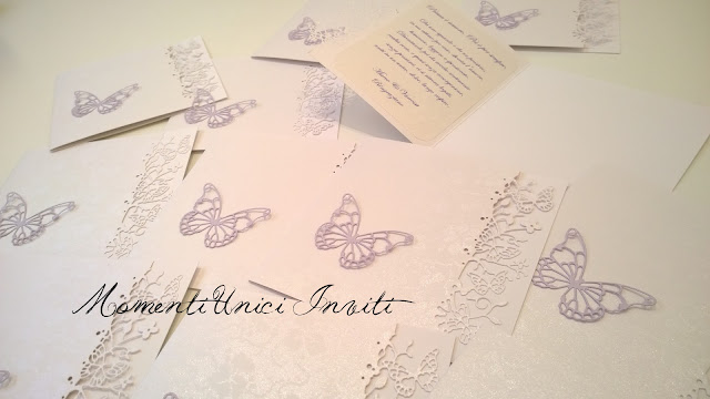 ringraziamento I coordinati a tema farfalle realizzati per Vanessa & MarcoColore Lilla Colore Verde Menta cover libretti Libretti messa Partecipazioni intagliate Tema Farfalle Verde Mela