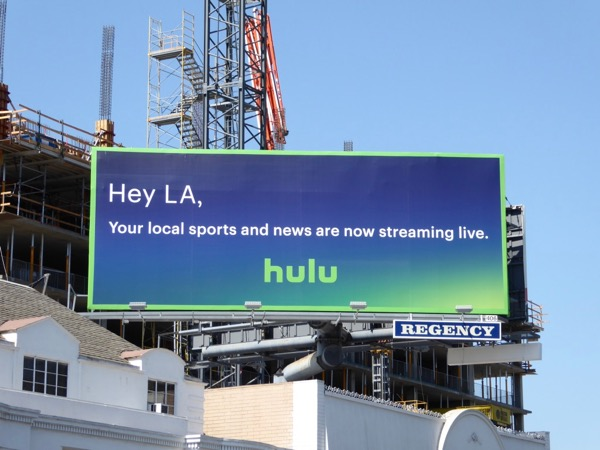 Hey LA local sports news Hulu billboard