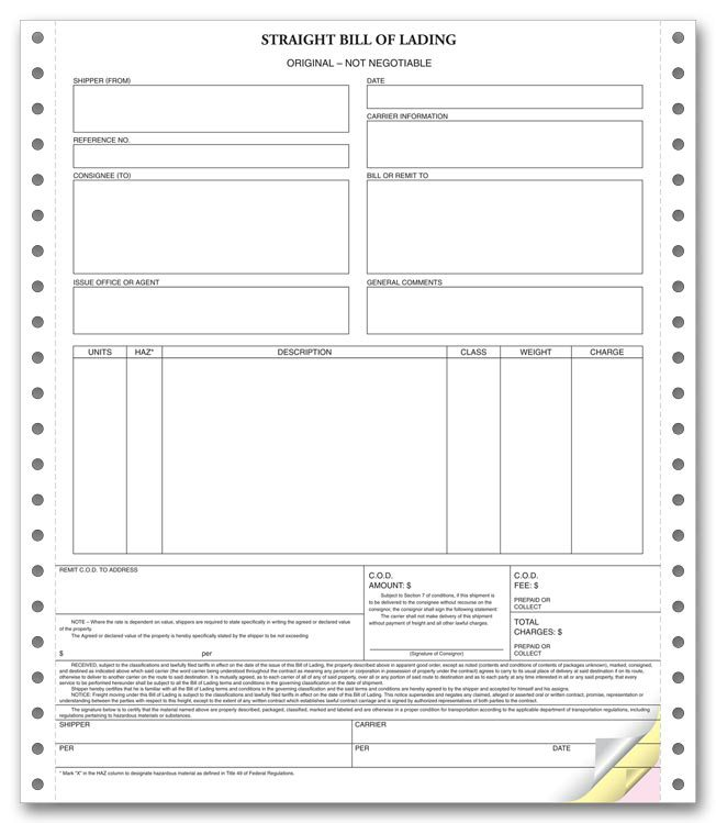 Bill Of Lading Forms Templates In Word And Pdf  Excel Template