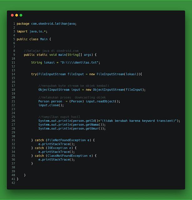 Contoh Code fungsi program  Proses Deserialization deserialisasi di java