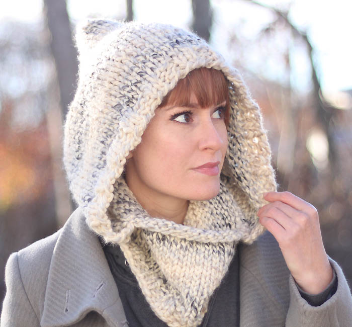 Easy Hooded Cowl Free Knitting Pattern by Blogger Gina Michele