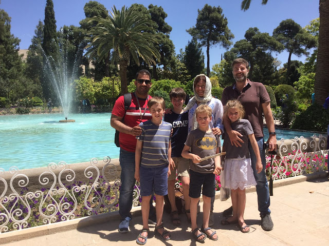 Family visiting Eram Garden in Shiraz, Iran