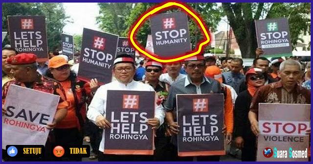 Heboh, Poster Stop Humanity Warnai Aksi Bela Rohingya Yang Dipimpin Oleh Aher