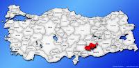 Adıyaman ilinin Türkiye haritasında gösterimi