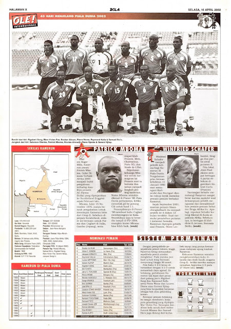 ROAD TO WORLD CUP 2002 CAMEROON TEAM PROFILE