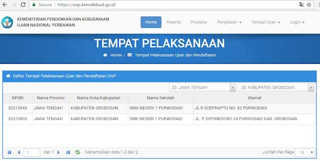 Daftar Tempat Pelaksanaan Ujian dan Pendaftaran UNP Kabupaten Grobogan