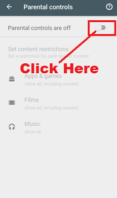 how to put parental controls on google play store