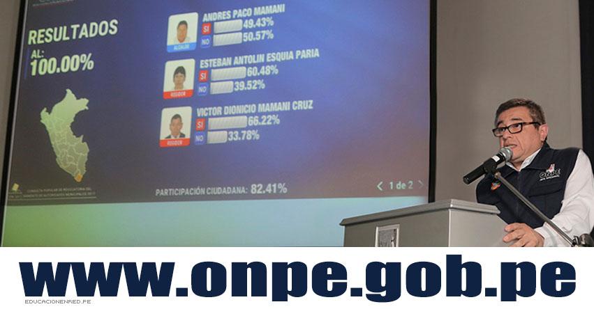 ELECCIONES 2017: Resultados Revocatoria de Autoridades Municipales (Domingo 11 Junio) www.onpe.gob.pe