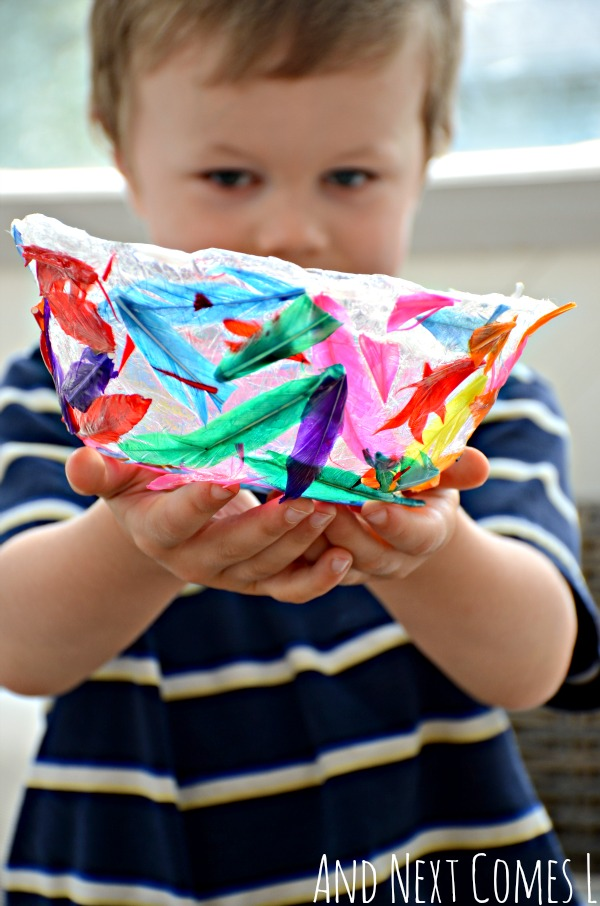 Colorful feather bowl fine motor craft for kids from And Next Comes L