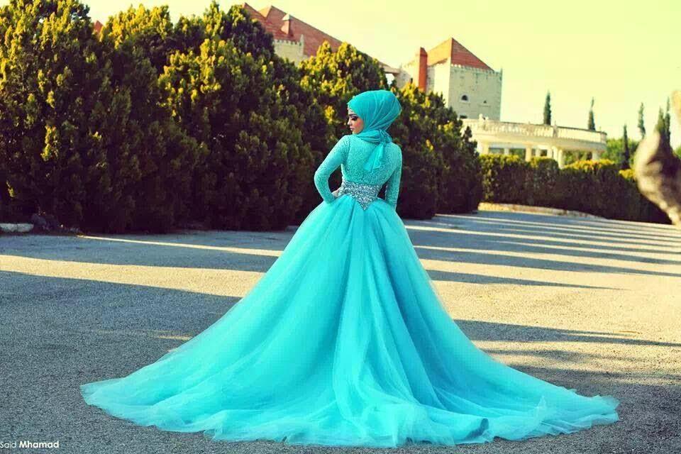 25 Contoh Model Baju Pengantin Muslim Warna Biru Kumpulan Model