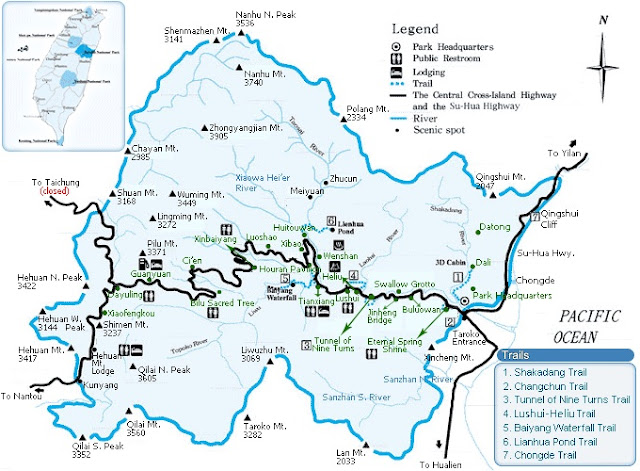 Carte du parc national des gorges Taroko à Taiwan
