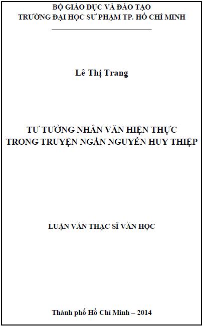 Tư tưởng nhân văn hiện thực trong truyện ngắn Nguyễn Huy Thiệp