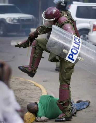 kenya police attack a helpless civilian in the nairobi protest 2016