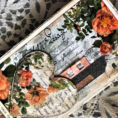 Sara Emily Barker https://sarascloset1.blogspot.com/2019/03/super-easy-tim-holtz-floral-collage.html Vintage Card Tutorial #timholtz #idealogycollagepaper #floral #ranger #distress 3