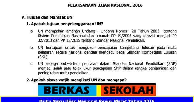 Buku Saku Ujian Nasional Revisi Maret Tahun 2016 Berkas