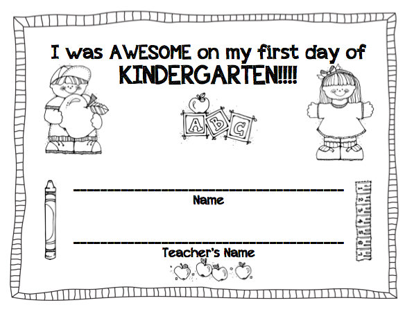 Temple's Teaching Tales: First Day of K certificate