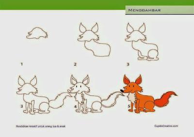 Cara menggambar hewan rubah