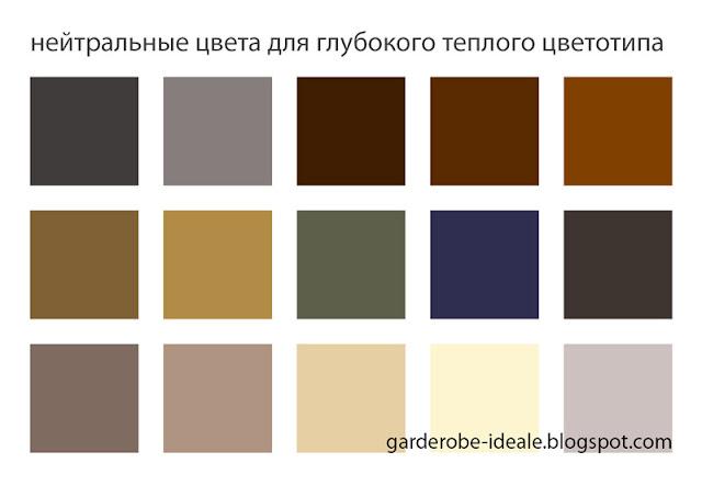 Нейтральные цвета для глубокого теплого цветотипа