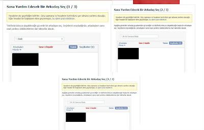 Çalınan Facebook hesabınızı geri alacağınız kodların gönderileceği 3 arkadaşınızı belirleyin