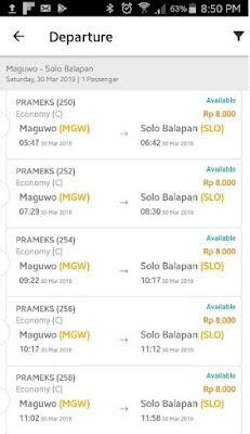 Jadwal kereta api Prameks pada menu KAI acess pada saat akan membeli tiket Prameks secara online