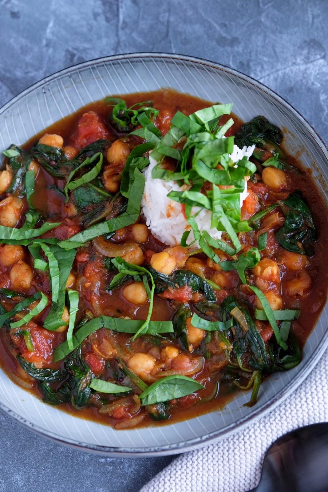 #inunter20 Minuten zubereitet | Kichererbsen Curry mit Spinat | Kichererbsencurrry mit Babyspinat | schnelle Rezepte | judetta.de
