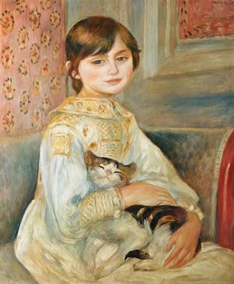 Mademoiselle Julie Manet avec le chat - Pierre-Auguste Renoir