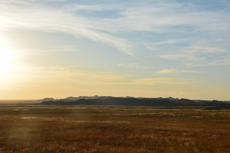 Le soleil se couche sur Baldlands National Park
