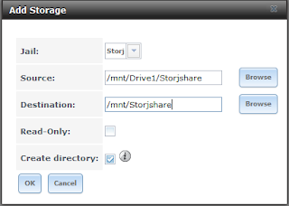 Allocating storage space from a Dataset to the newly created jail