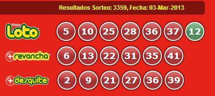 Resultados Loto Sorteo 3359 Fecha 03/03/2013