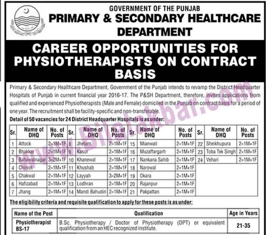 Government of The Punjab Jobs in Primary and Secondary Healthcare Department