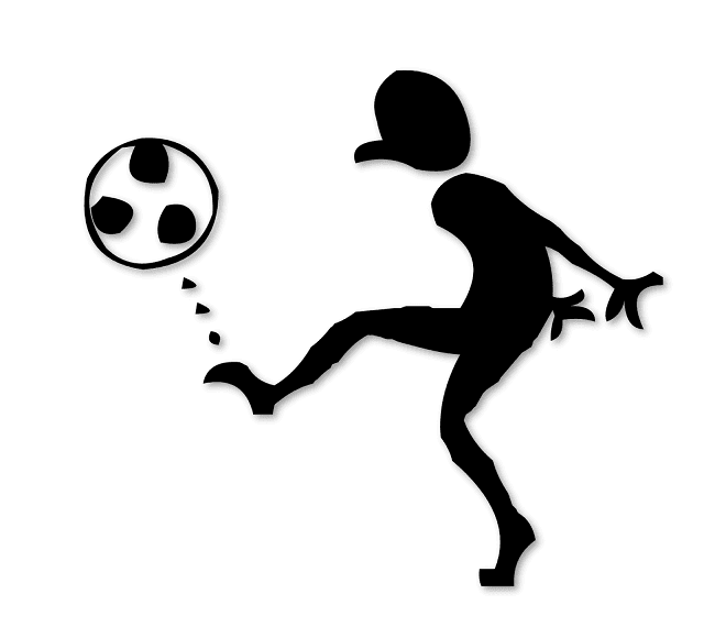 Silhouette of A Man playing football, Silhoutte, Free Clipart