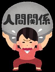 重圧に苦しむ人のイラスト(女性・人間関係)