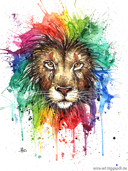 Watercolor rainbow lion drawing