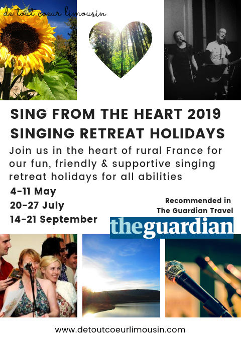 sing from the heart, singing retreat, holidays france, travel, rural france, limousin, creuse, guardian travel, de tout coeur limousin, retreats in rural france, millevaches, lac de vassiviere, Nouvelle Aquitaine,