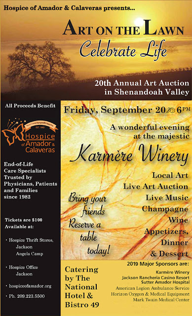 "Hospice of Amador & Calaveras: 20th Annual ""Art on the Lawn"" - Fri Sept 20"